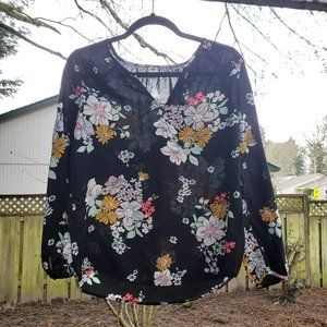 Old Navy Womens L Black Blouse Floral Print